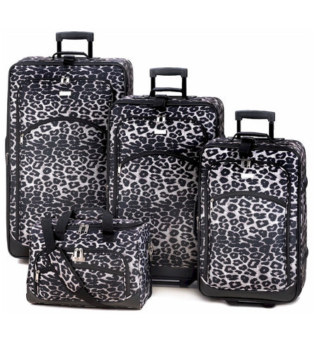 Snow Leopard Print Luggage Set