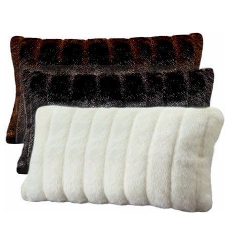 Oblong Faux Mink Pillow