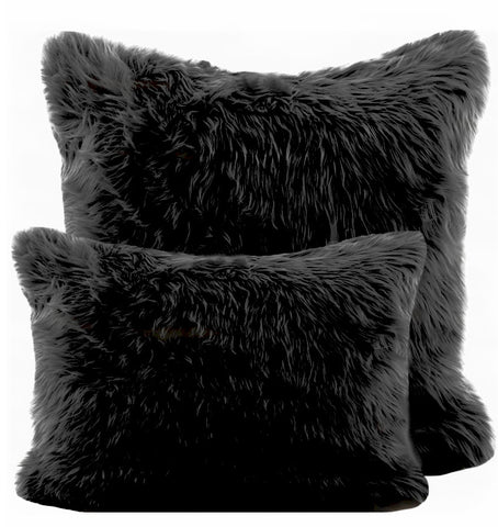 Black Shag Pillow
