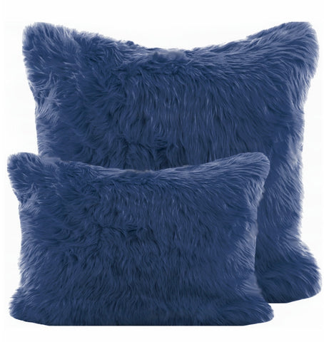 Navy Blue Shag Pillow
