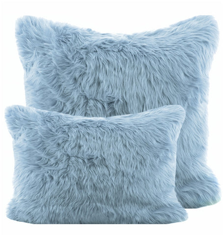 Baby Blue Shag Pillow