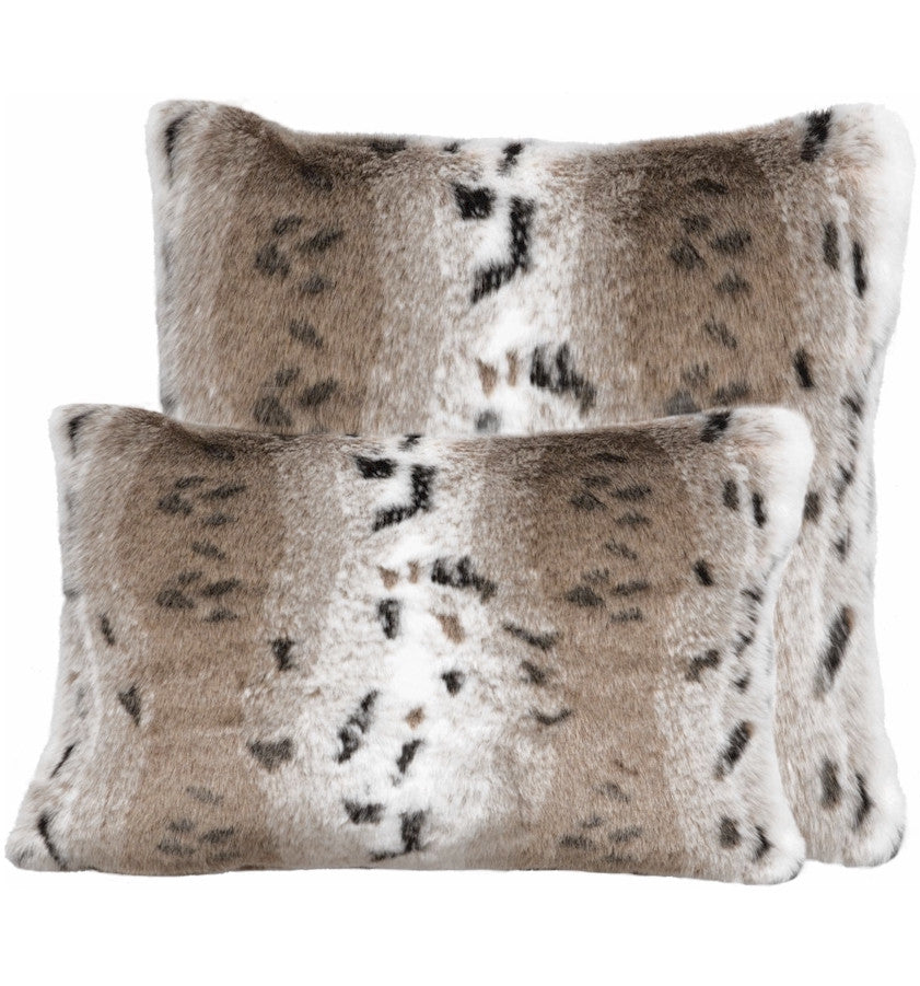 Snow Lynx Faux Fur Pillow
