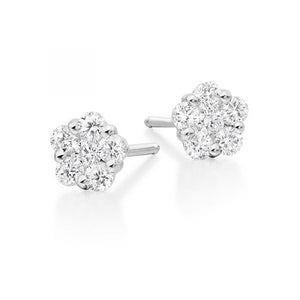 18ct White Gold 2ct Diamond Cluster Studs