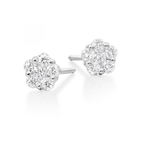 18ct White Gold .34pts Diamond Cluster Studs