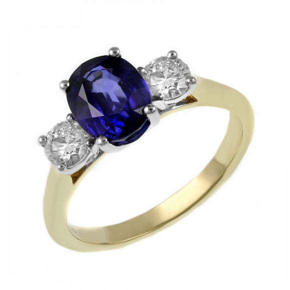 18ct Gold Certified Sapphire & Diamond 1.40ct Ring
