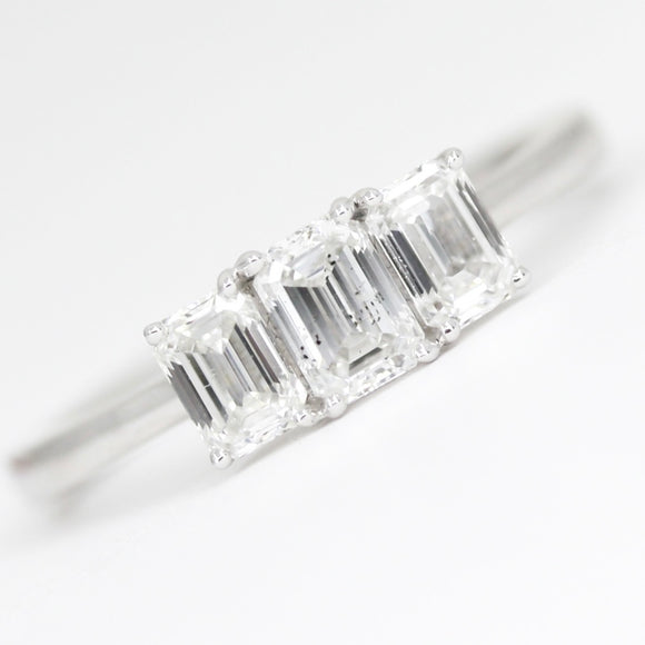 18ct White Gold Emerald Cut 1.07ct Diamond Trilogy