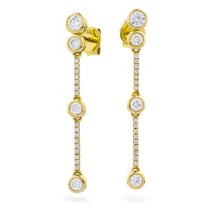 18ct Gold .75pts Diamond Drop Earrings