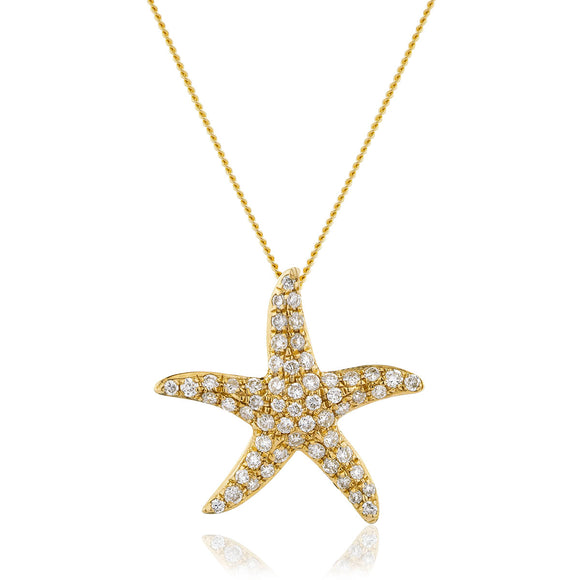 18ct Gold .25pts Diamond Starfish & Chain
