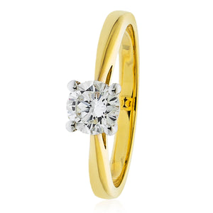 18ct Gold Solitaire .40pts Diamond Ring