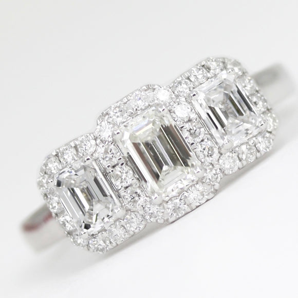 Platinum Emerald Cut 1.39ct Diamond Trilogy Halo Ring