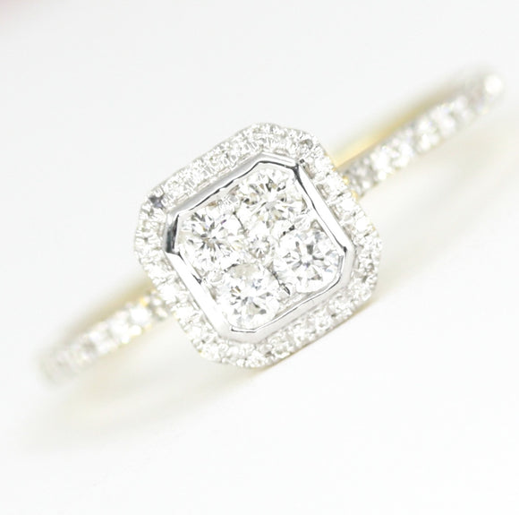 18ct Gold Diamond .39pts Halo Style Ring
