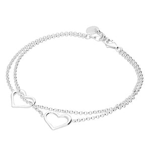 Silver Double Open Heart Bracelet