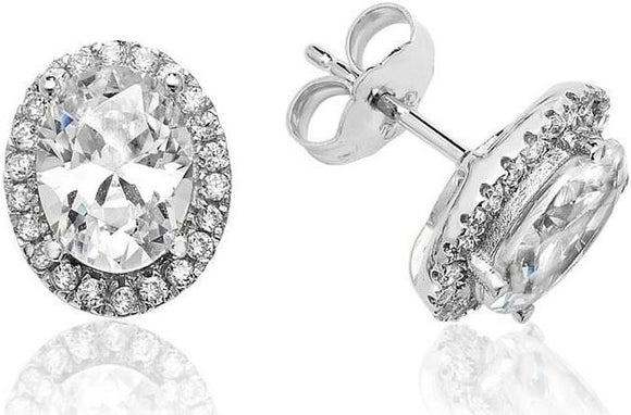 18ct White Gold Diamond Halo Studs .86pts