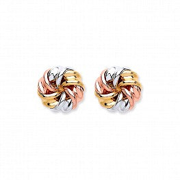 9ct Gold Three Colour Knott Studs