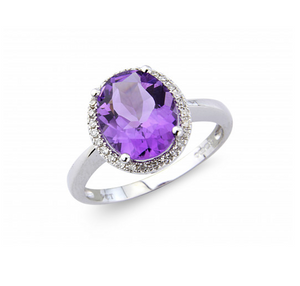 18ct White Amethyst Diamond Ring