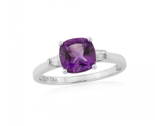 9ct White Amethyst Diamond Ring