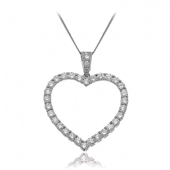 18ct White Gold .51pt Diamond Heart & Chain
