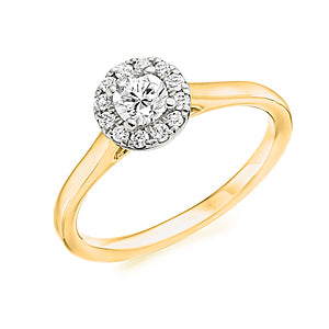 18ct Yellow Gold Diamond .30pts Halo Ring