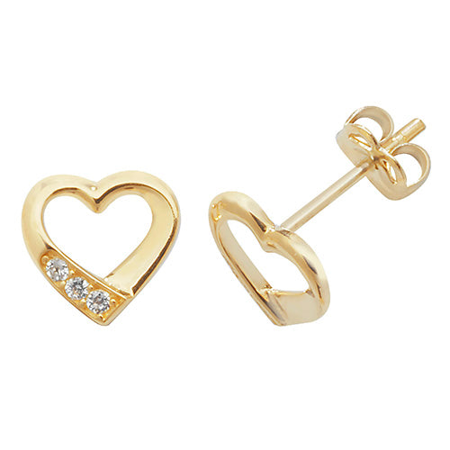 9ct Gold Cubic Zirconia Heart Studs