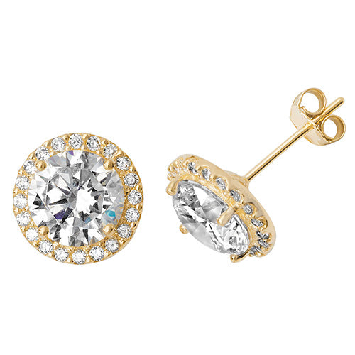 9ct Gold Cubic Zirconia Halo Studs