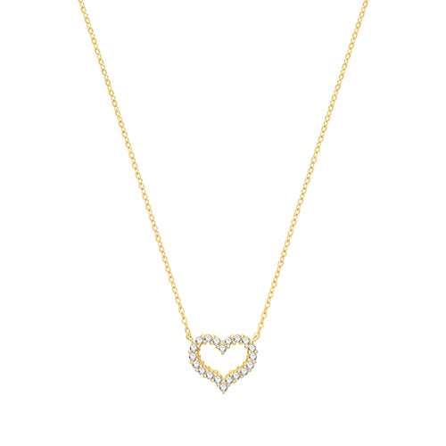 9ct Gold Cubic Zirconia Heart Necklet