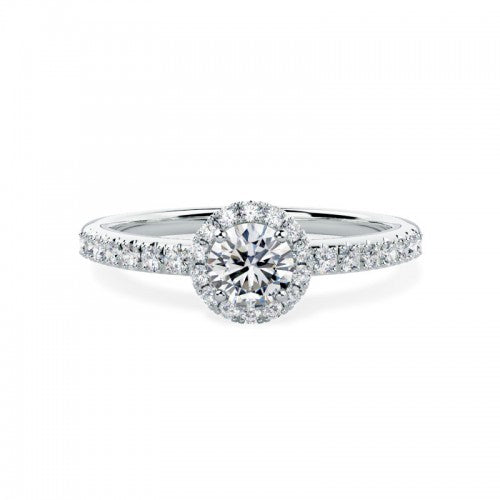 18ct White Gold Diamond. 48pts Halo Ring