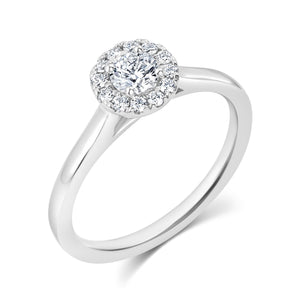 18ct White Gold Diamond .30pts Halo Ring