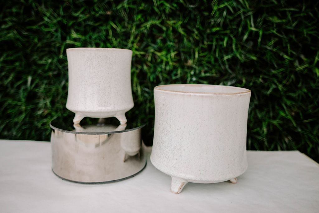 Speckled Ceramic Pot With Feet