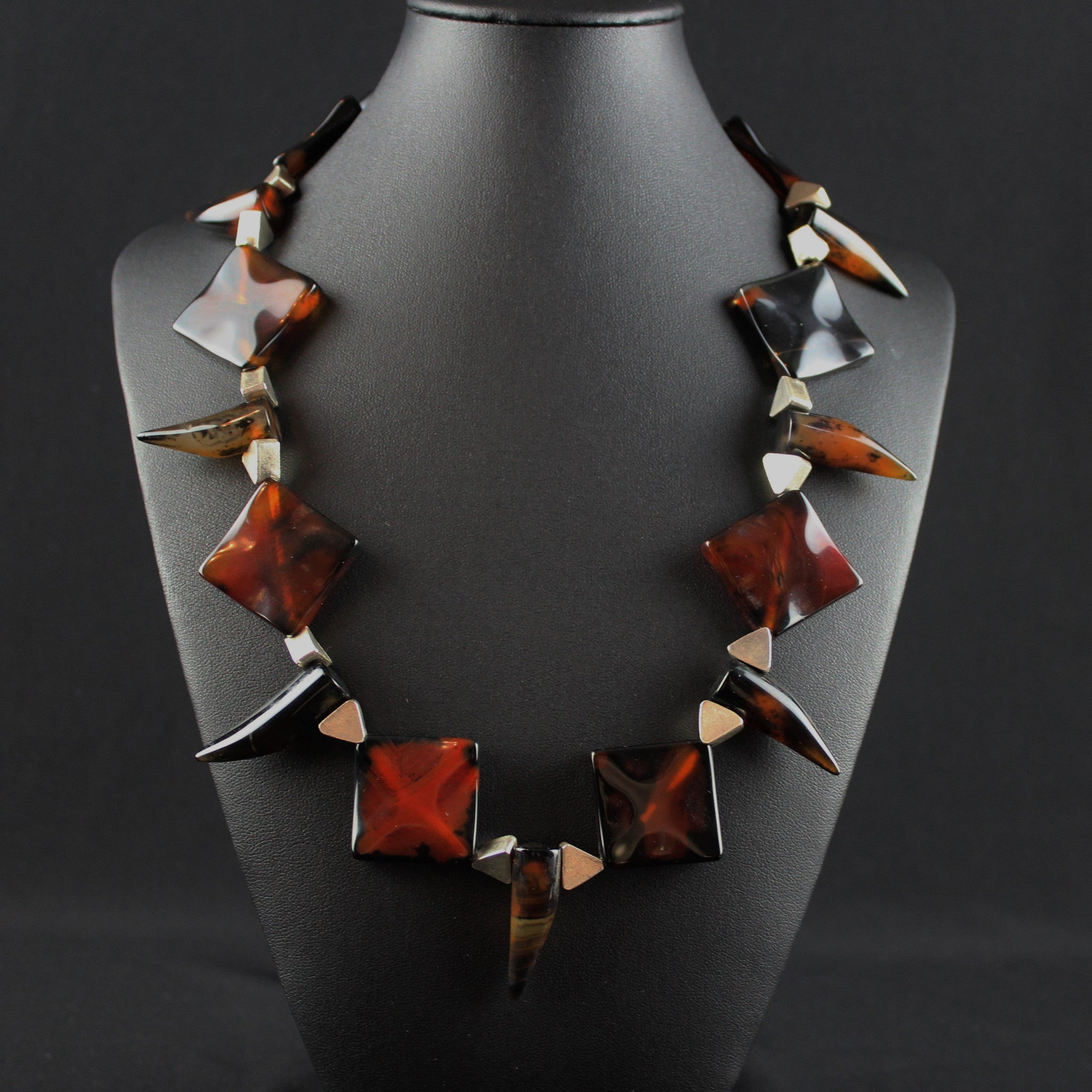 Susan M - Red Black Agate & Thai silver Necklace