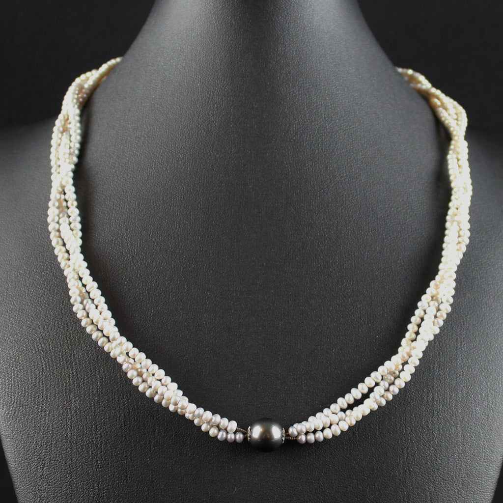 Susan M - Triple Strand Pearls with Tahitian Pearl Necklace