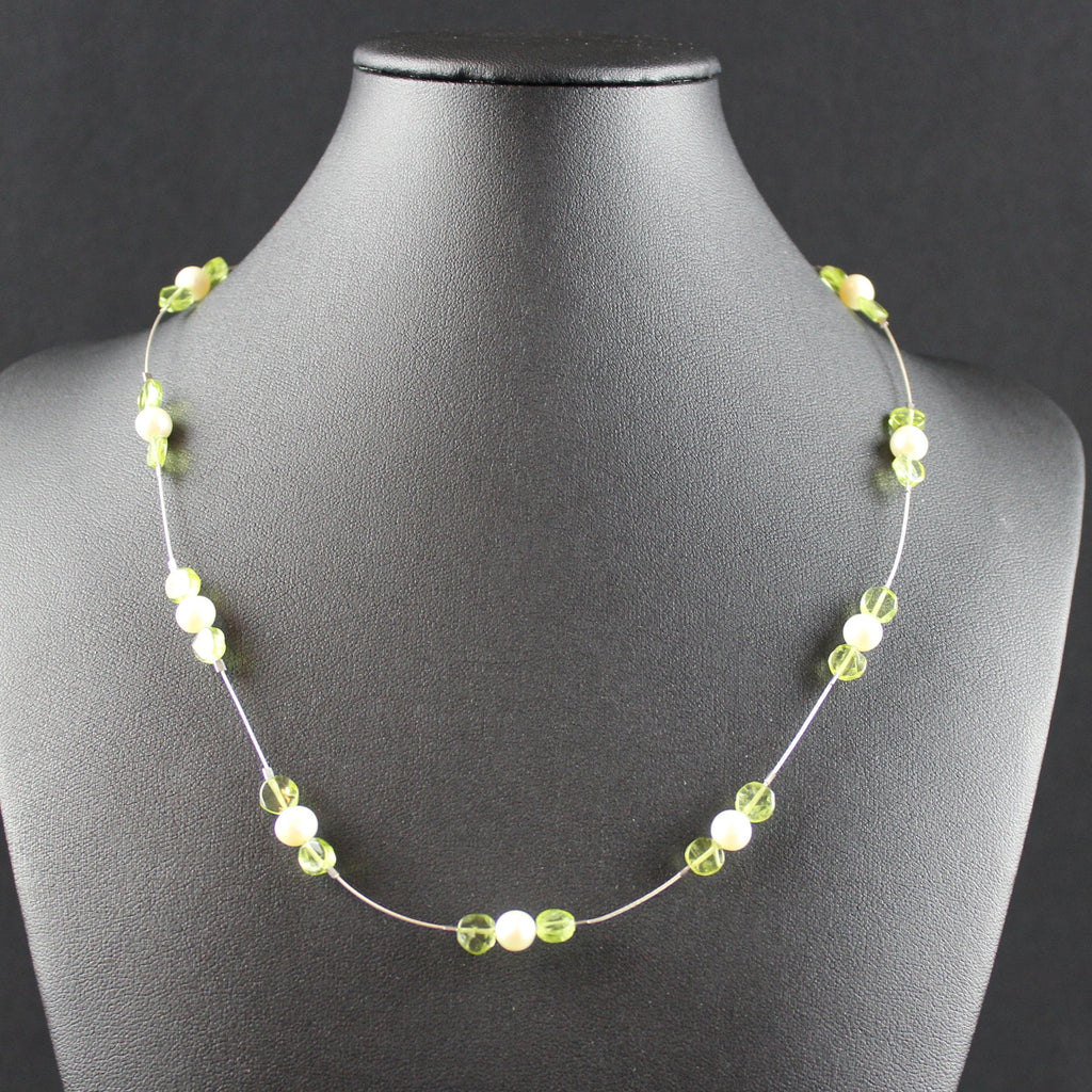 Susan M - Floating Pearl & Peridot Necklace