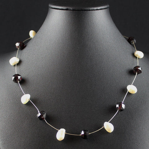 Susan M - Garnet & Pearl Floating Necklace