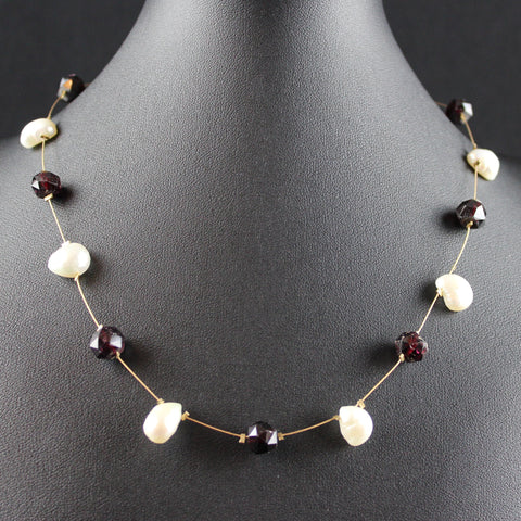 Susan M - Garnet & Pearl Floating Necklace on Gold