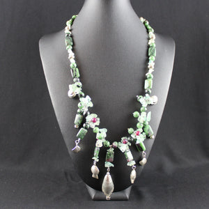 Susan M - Ruby  Zoisite & Thai Silver Necklace