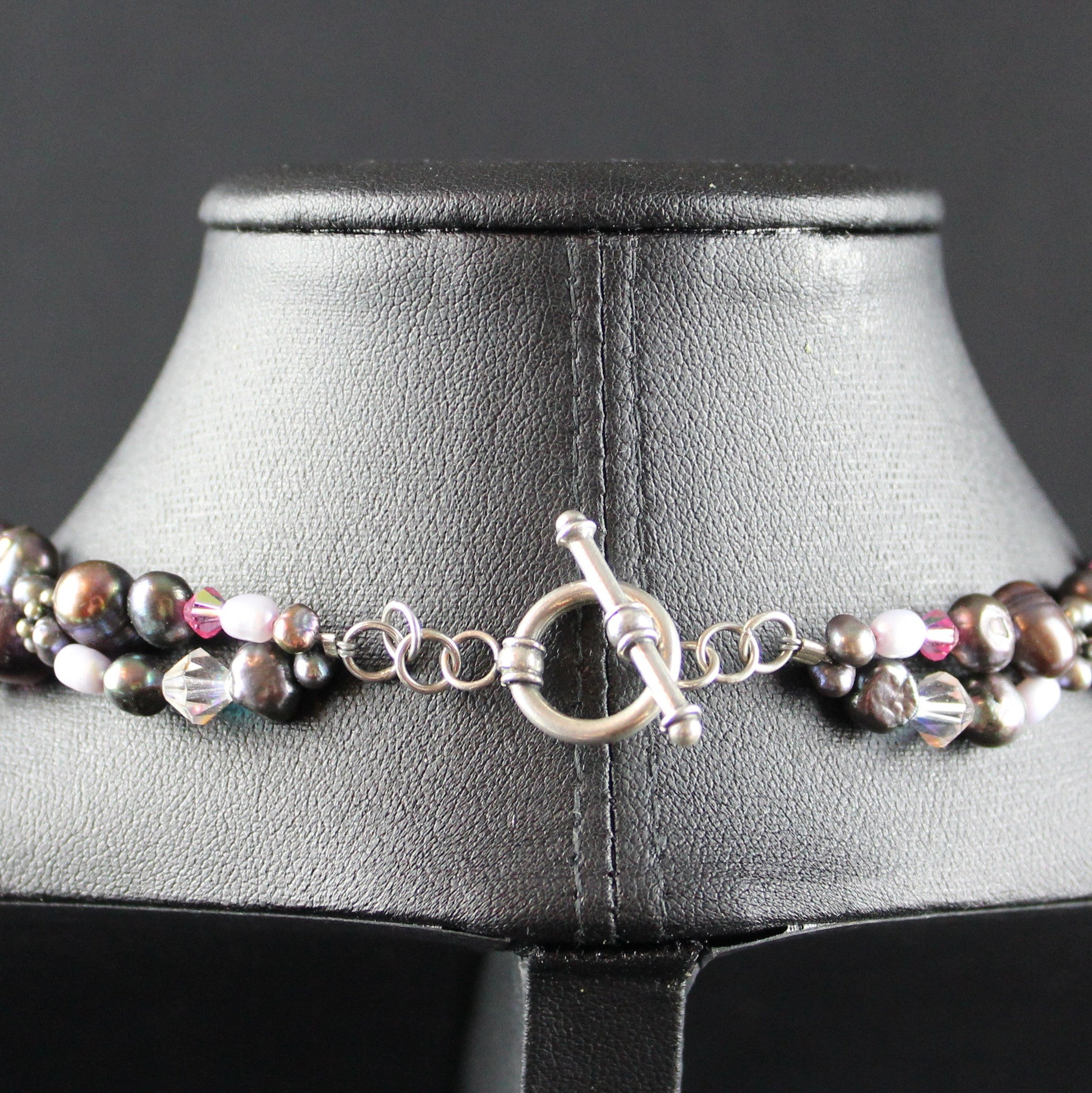 Susan M - Multi pearl, Crystal & Thai Silver Necklace