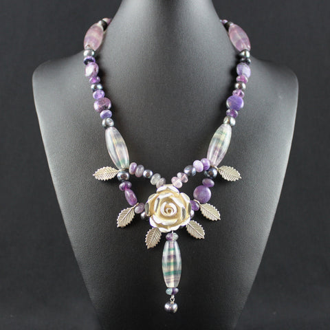 Susan M - Ametrine, Freshwater Pearls & Thai Silver Necklace