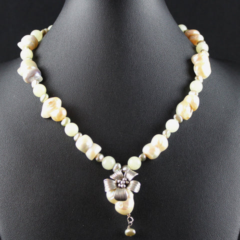 Susan M - Freshwater Pearl & Chalcedony Necklace