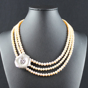 Susan M - Triple Strand Pearl & Thai Silver Necklace