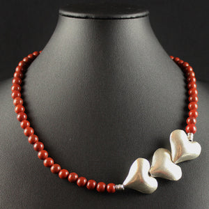 Susan M - Red Jasper & Thai Silver Hearts Necklace