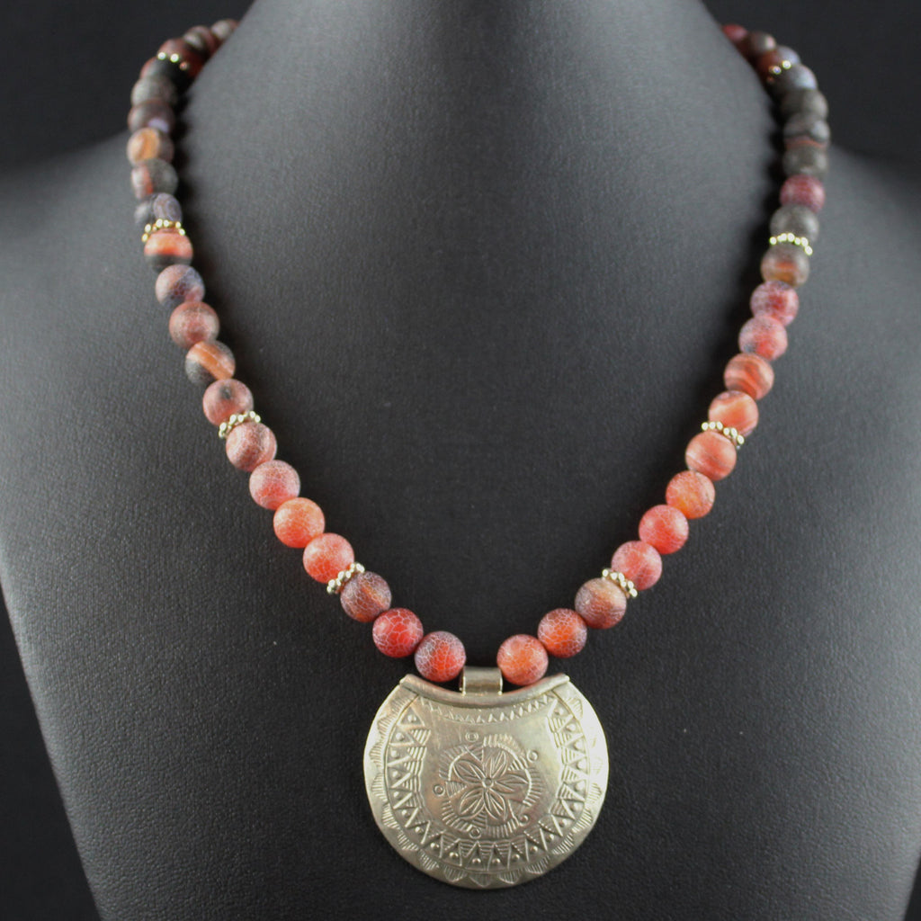 Susan M - Fire Agate & Thai Silver Necklace