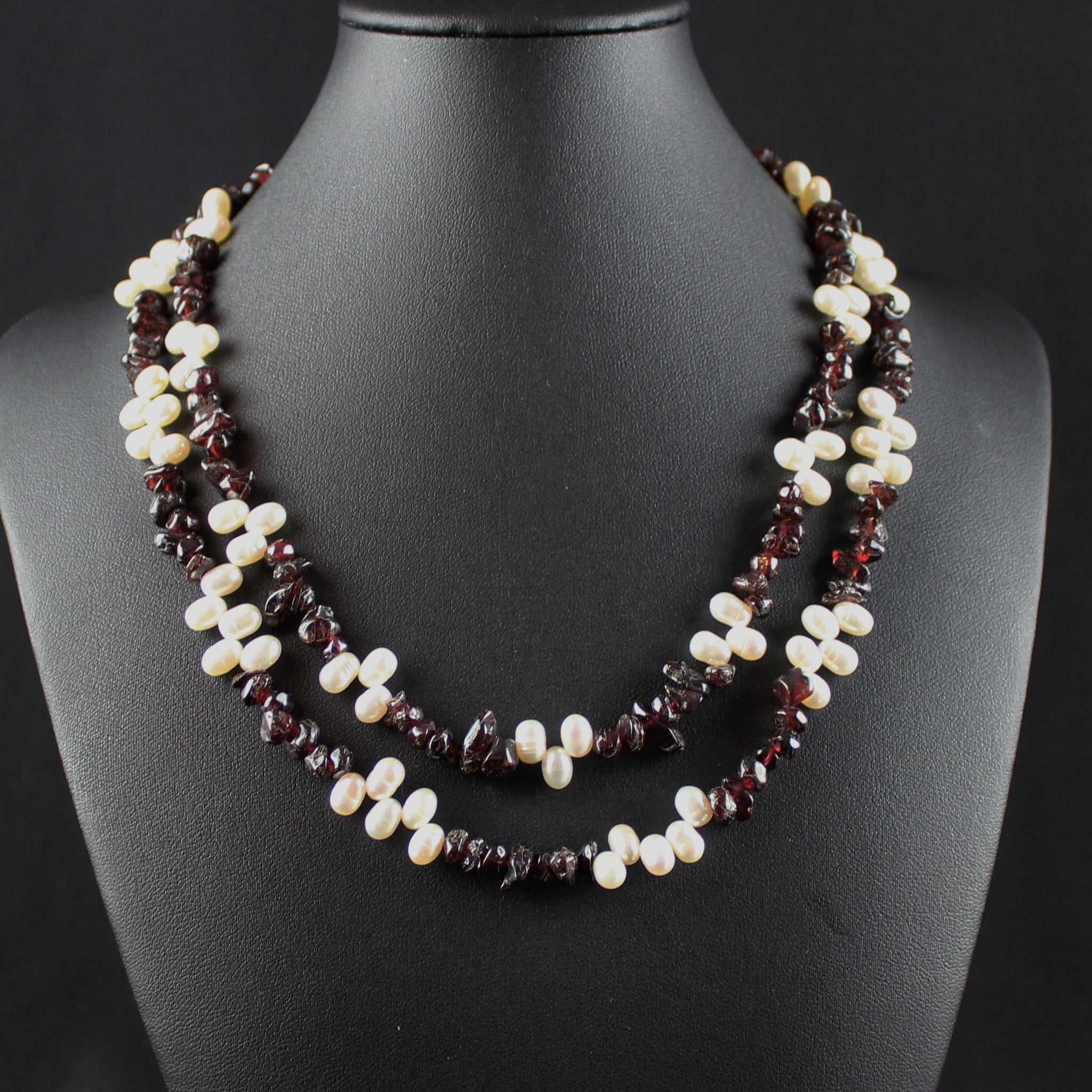Susan M - Garnet & Pearl Necklace