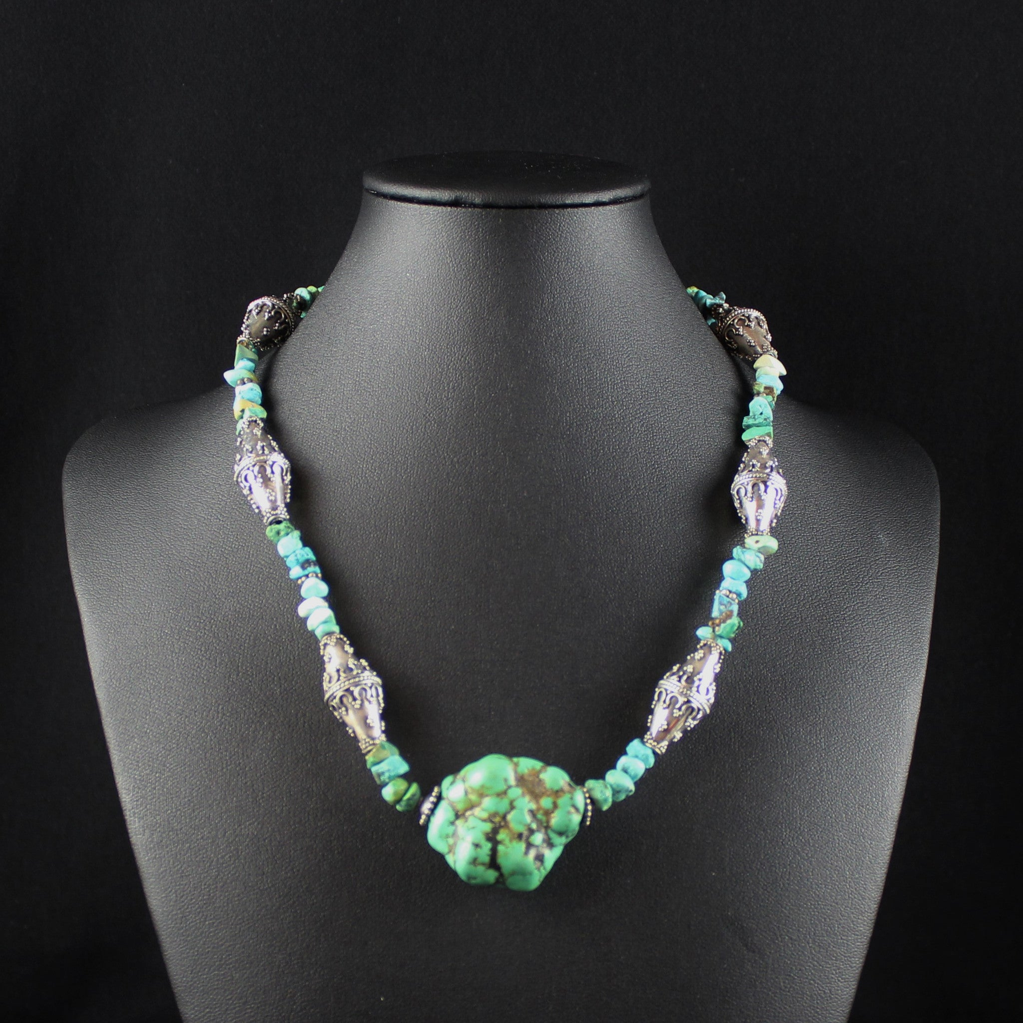 Susan M - Turquoise & Bali Silver Necklace