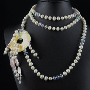 Susan M - Pearl & Crystal Lariat Necklace