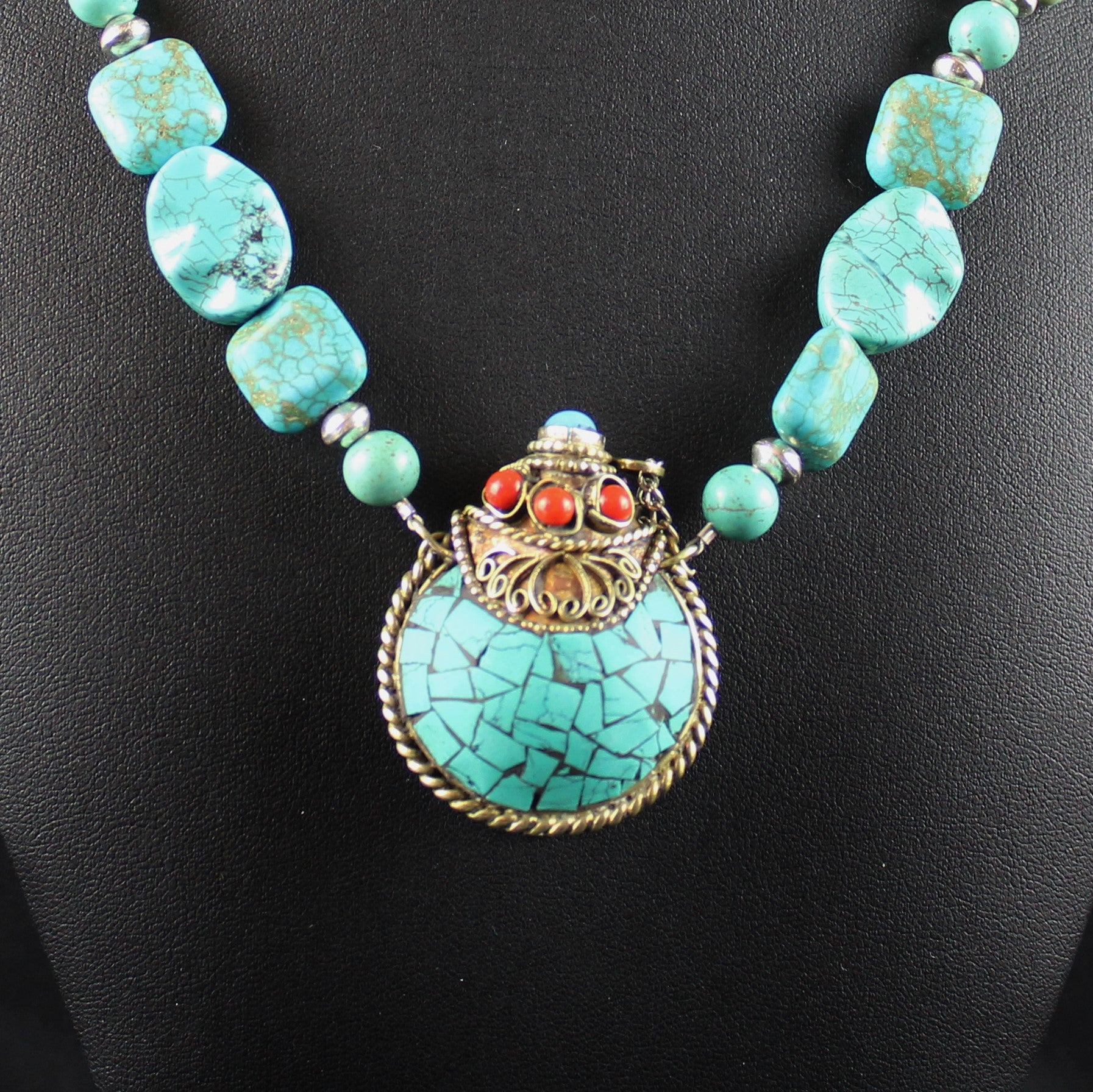 Susan M - Turquoise Necklace with Snuff Bottle