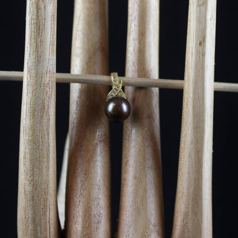 Chocolate coloured pearl pendant