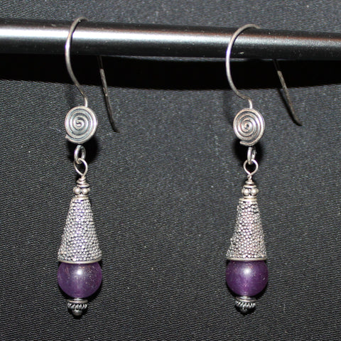 Susan M - Bali Silver & Amethyst Earrings