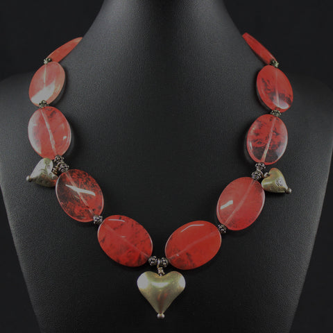 Susan M - Cherry quartz necklace with Thai silver hearts