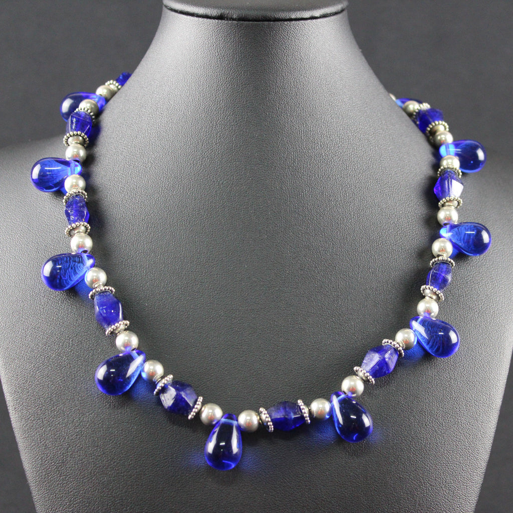 Susan M - Cobalt blue glass and Sterling Silver Necklace