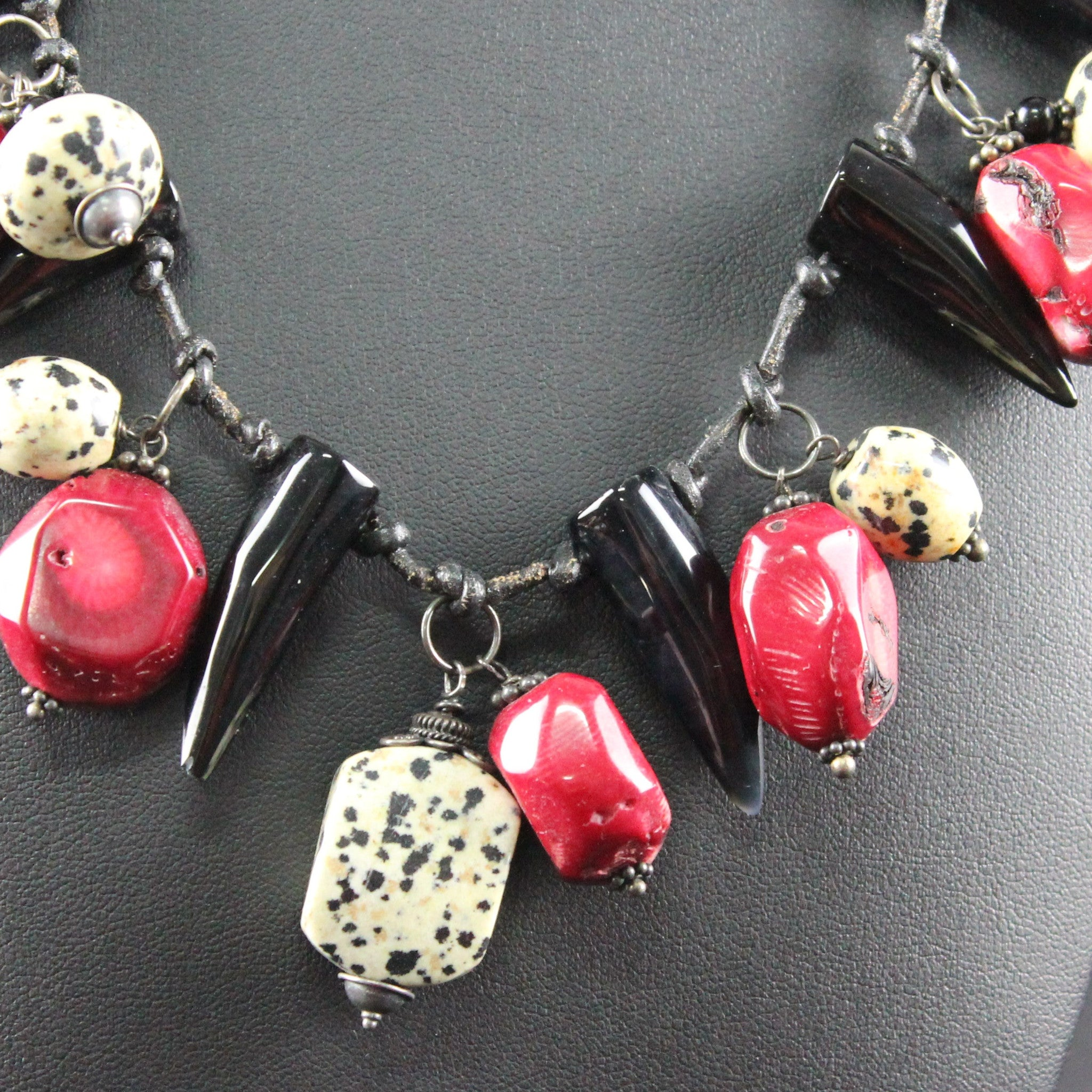 Susan M - Dalmation jasper and Coral on leather Necklace