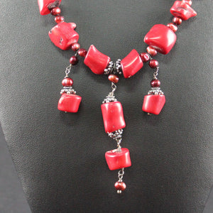 Susan M - Red coral and Pearl Necklace
